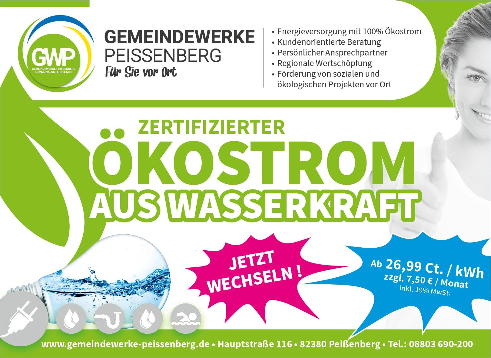 Ökostrom Werbeanzeige der Gemeindewerke Peißenberg KU